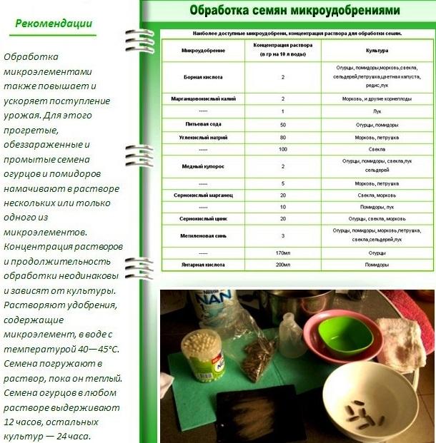 Предпосевная подготовка семян:обработка микроудобрениями
